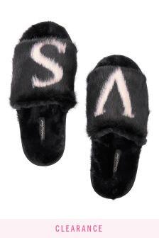 """Victoria's Secret Logo """"V"""" Faux Fur Slides"""