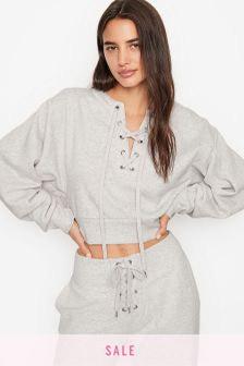 Victoria's Secret Cotton Fleece Lace Up Crewneck Hoodie