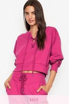 Victoria's Secret Cotton Fleece Lace Up Crewneck