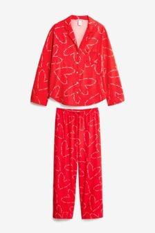 Victoria's Secret Cotton Printed Flannel Long PJ Set