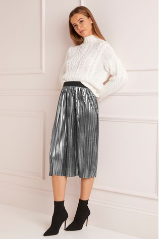 Buy Lipsy Metallic Pleated Midi Skirt From Next India