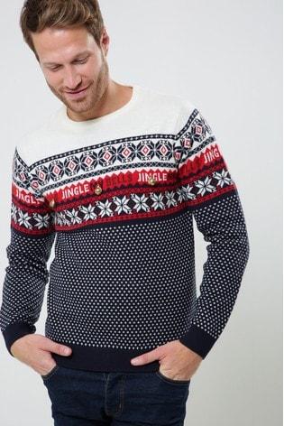 Buy Threadbare Jingle Bells Stripe Knitted Christmas Jumper From The