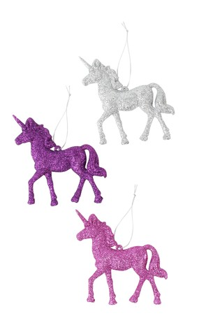 paperchase 3 glitter unicorn christmas decorations - Unicorn Christmas Decorations