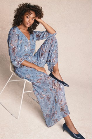 02104ba9928e Buy Blue Printed Metallic Jumpsuit from the Next UK online shop