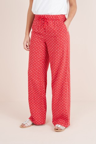 35a8138c5e8d Buy Red Print Linen Blend Wide Leg Trousers from the Next UK online shop
