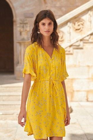 2a65b90417b3350 Buy Yellow Floral Tea Dress from Next Ukraine