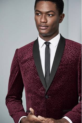 f6b8c18f0866 Buy Red Floral Printed Velvet Tuxedo Jacket from the Next UK online shop