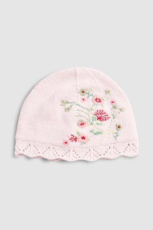 da017fef91a Buy Pink Floral Embroidered Knitted Hat (0mths-2yrs) from Next New ...