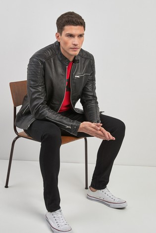 3015ee242d5f Buy Replay® Black Leather Jacket from the Next UK online shop
