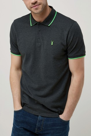 2c887c786b5 Buy Charcoal Green Neon Tipped Polo from Next Ireland