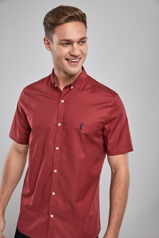 967d5fb0 Buy Rose Red Slim Fit Short Sleeve Stretch Oxford Shirt from Next Kuwait