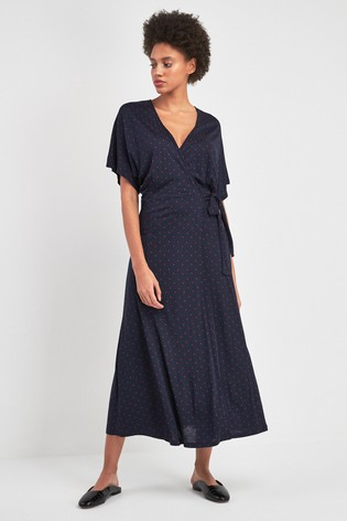 9979fa23881 Buy Whistles Navy Spot Wrap Jersey Dress from the Next UK online shop