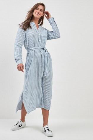 c048f623bae Buy BOSS Blue Stripe Linen Shirt Dress from the Next UK online shop