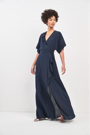 e77fa1ebe2f Buy Whistles Navy Nova Frill Wrap Maxi Dress from the Next UK online ...