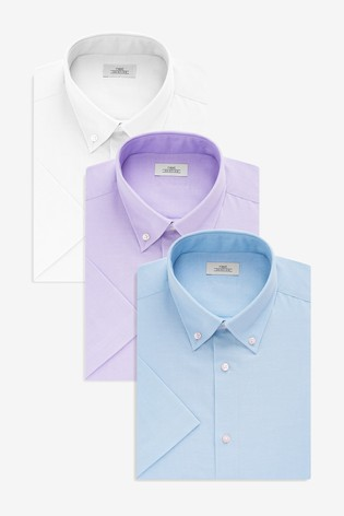 850419e63ec7 Buy Blue Lilac White Slim Fit Short Sleeve Oxford Shirts Three Pack ...