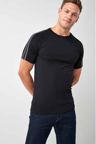 d2c0904a3 Buy Black Muscle Fit Taped T-Shirt from the Next UK online shop