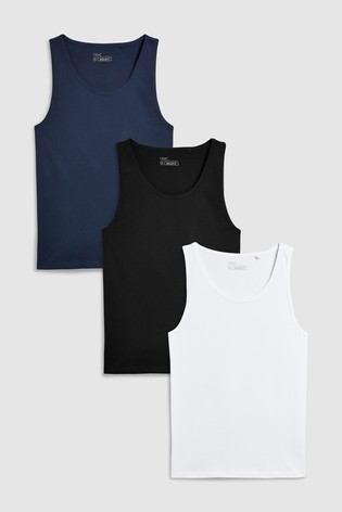f22c2ce6a Buy Black White Navy Vests Three Pack from the Next UK online shop