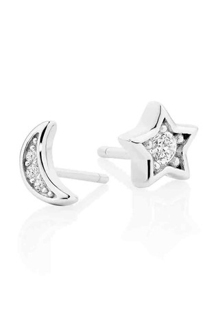 c0d9adceb Beaverbrooks Sterling Silver Cubic Zirconia Moon And Star Earrings
