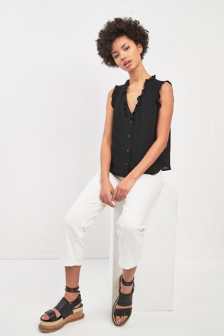 535c28d54 Buy Whistles Black Emily Frill Top from the Next UK online shop