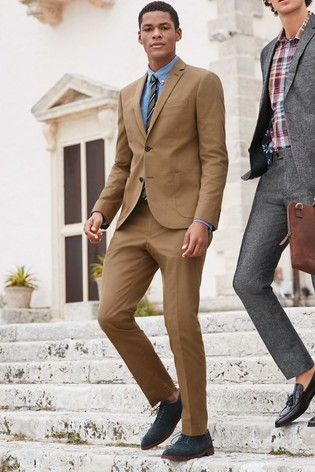 b692a82499e Buy Tan Skinny Fit Cotton Blend Suit: Jacket from the Next UK online ...