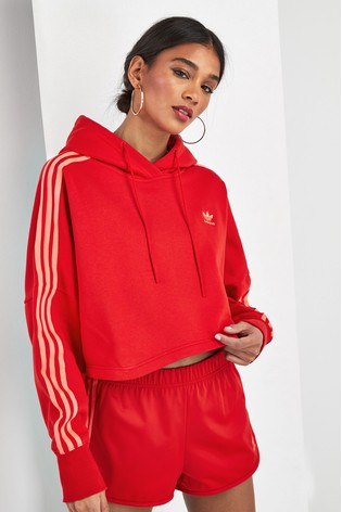 beauty clearance sale limited guantity adidas Originals 3 Stripe Cropped Hoody