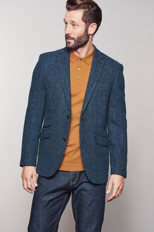 c847573db37 Blue Herringbone Tailored Fit Harris Tweed Signature Blazer