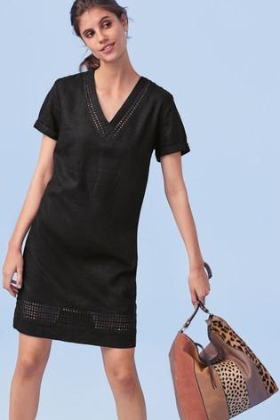 8d4244a7f9977c Buy Black Linen Blend T-Shirt Dress from the Next UK online shop