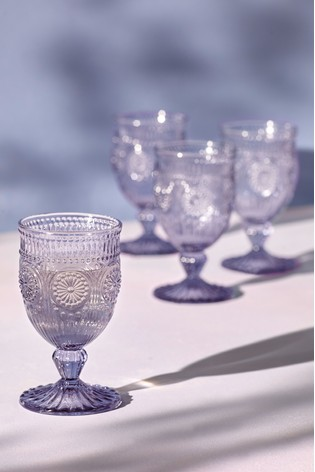 Set Of 4 Amelie Embossed Wine Glasses by Next