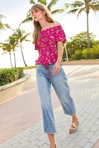 9c54790c5 Buy Pink Printed Bardot Tie Hem Top from the Next UK online shop