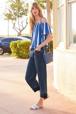 e18ebd80b Buy Blue Stripe Bardot Tie Hem Top from the Next UK online shop