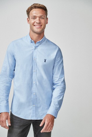 3a720fe944 Buy Light Blue Slim Fit Long Sleeve Stretch Oxford Shirt from Next India