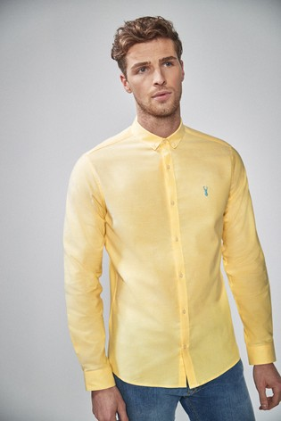 02093f7dc43 Yellow Slim Fit Long Sleeve Stretch Oxford Shirt