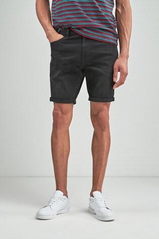 93c52958d3 Washed Black Skinny Fit Denim Shorts