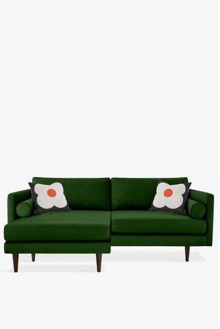 watch 95338 7e2a1 Orla Kiely Mimosa Large Chaise Sofa With Walnut Feet