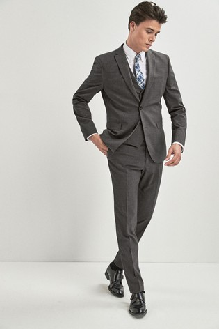 5a2ffd3b7d Grey Skinny Fit Stretch Marl Suit: Trousers