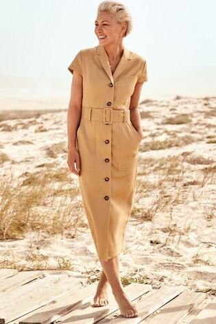 e305e717b36 Buy Camel Emma Willis Belted Shirt Dress from the Next UK online shop