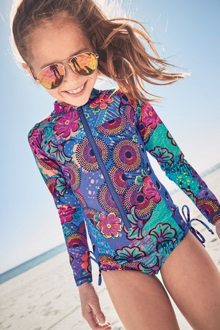 314d26a3e53 Buy Multi Print Long Sleeve Sunsafe Swimsuit (3-16yrs) from the Next ...
