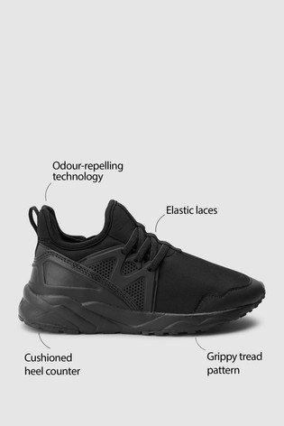 Buy Black Elastic Lace Trainers (Older
