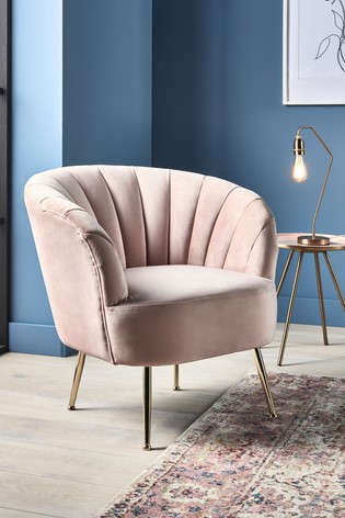 Opulent Velvet Blush Stella Accent Chair With Gold Finish Legs