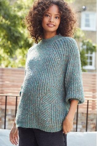 Green Maternity Volume Sleeve Knit Jumper