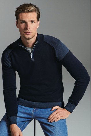 Navy Block Panel Zip Neck Jumper