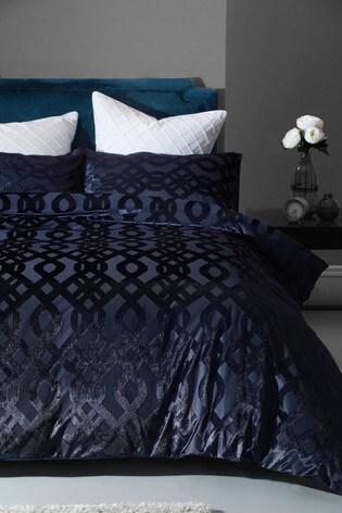 Velvet Jacquard Damask Duvet Cover, Navy Blue Damask Bedding