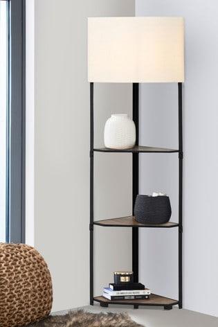 Corner Shelf Floor Lamp From The, Oak Floor Lamp With Shelves Uk