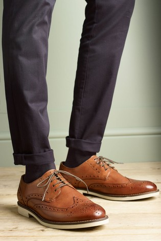 Buy Tan Contrast Sole Leather Brogues