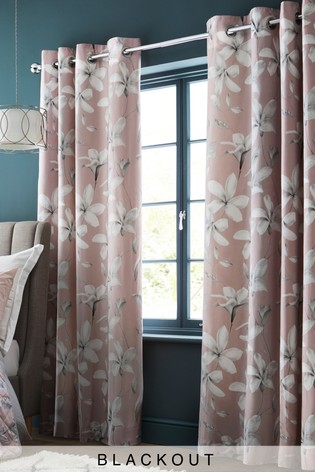 Buy Cotton Sateen Magnolia Blackout Eyelet Curtains From The Next Uk