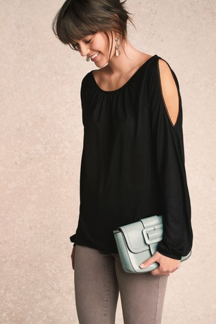 fff21d28032498 Buy Black Drape Cold Shoulder Top from Next Malta