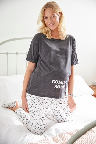 Buy Grey Maternity Heart Print Pyjamas from the Next UK online shop e6212eb0a