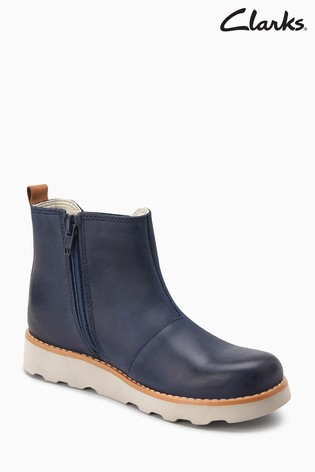 3abd877c6bf29 Buy Clarks Navy Leather Crown Halo Gusset Toddler Ankle Boot from ...