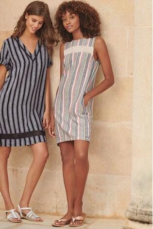343648c385 Buy Pink Stripe Linen Blend Shift Dress from the Next UK online shop
