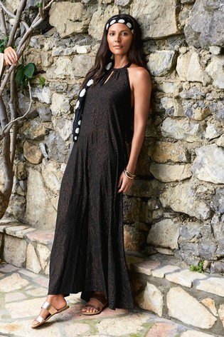 39d2ea10c7f3b Buy Black With Gold Thread Halterneck Maxi Dress from the Next UK ...